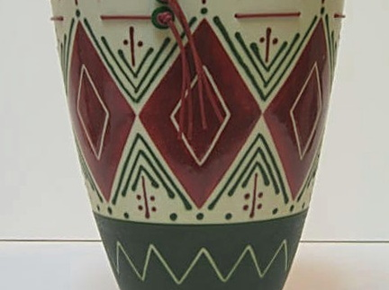 Green Vase with Rhombus and Leather