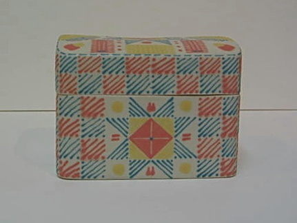Box with Eight-pointed Star Quilt Pattern - side view