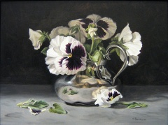 Pansies in a Silver Creamer