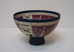 Medium Blue Footed Bowl with Triangles and Ladders