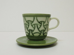 Green 'mishima' cup and saucer