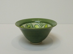Green and Yellow 'mishima' bowl