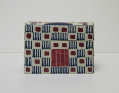 Blue and Red Quillwork Rectangular covered container