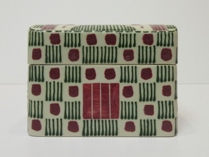 Red and Green Quillwork Rectangular covered container