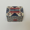 Red and Blue Quillwork Rectangular covered container- top detail