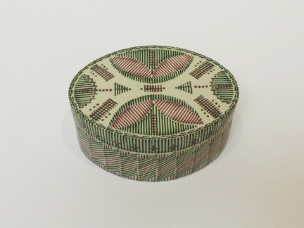 Oval Quill Work Covered Container top detail