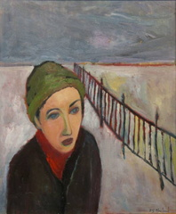 Woman Following a Fence