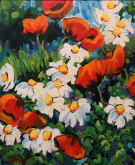 Oriental Poppies and Daisies
