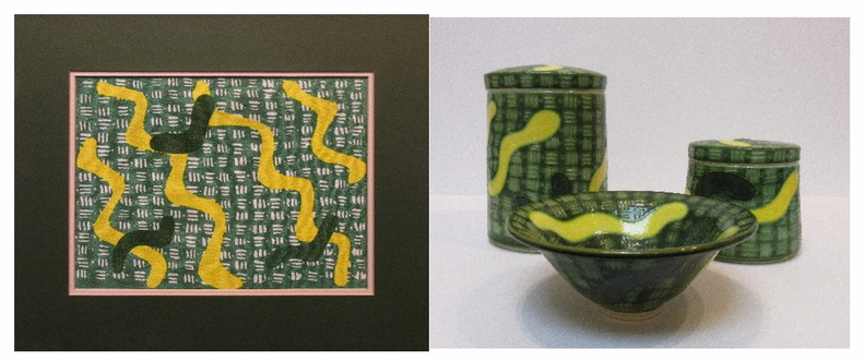 Bowl, fabric and Jars in Yellow and green.jpg