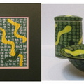 Bowl, Fabric (matted and framed) and Jars in Yellow and Green Abstract Pattern