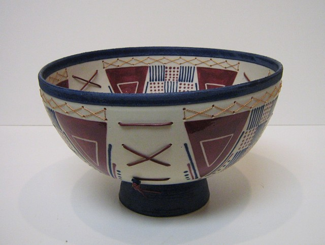 Large Blue Footed Bowl with Triangles